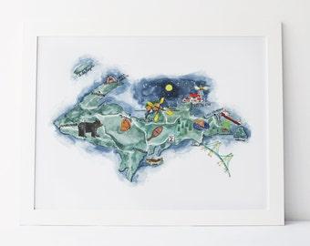 Upper Peninsula Michigan Illustrated Watercolor Map 11x14 Art Print