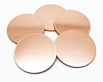 5 Raw Copper Discs, 25mm Copper Blanks, Stamping Blanks, 1 Inch Metal Discs, 1mm Thickness, Unfinished Copper, Copper Tags, UK Seller