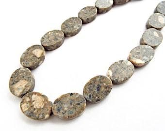 Sesame Jasper, Flat Oval Beads, 22 Jasper Beads, Natural Jasper Stone, 16in Strand, Jasper Ovals, Jewelry Supplies, UK Seller