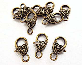 10 Bronze Clasps, Giant Clasps, Antique Bronze, Metal Clasps, Large Lobster, Jewelry Supplies, Bronze Findings, Heart Clasps, UK Seller