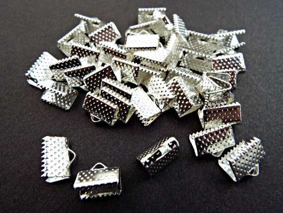 Pack Of 50 Silver Plated Iron 7 x 10mm Ribbon Ends//Clamps