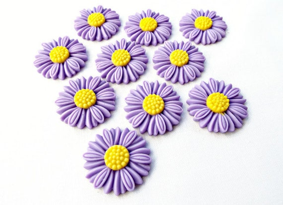 20 x Mixed Flower Cabochon Daisy Plastic Flat-back Embellishment Deco Wedding