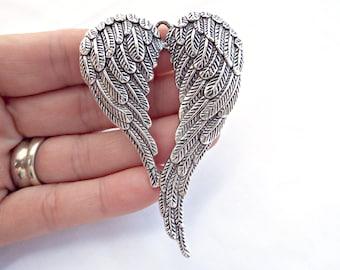 Angel Wings Pendant, Large Silver Pendant, Tibetan Silver Style, 70mm Wing Pendant, Silver Angel Pendant, UK Seller, Jewelry Supplies