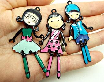 Girl Pendants, Pack of 10 or 3, 60mm Enamel Charms, Metal Pendants, Jewelry Pendants, Keyring Charms, Mixed Pack, Fashion Girl, UK Seller