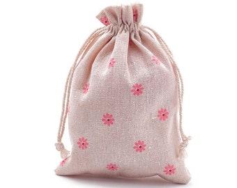 5 Hessian Style Bags, Orange Daisy Design, 18x13cm, Drawstring Bags, Jewelry Presentation, Jewelry Gift Bag, Daisy Gift Bag, UK Shop