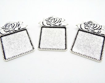3 Brooch Settings, Antique Silver, Rose Brooch Base, Square Cabochon, Brooch Blanks, Square Bezel Setting, 43mm Brooch, UK Seller