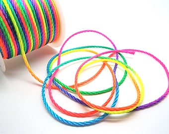 Rainbow Jewelry Cord, 2mm Braided Nylon, 2mm x 5 Metres, Necklace Making, Twisted Ombre Cord, Rainbow Jewelry, Jewelry Supplies, UK Seller