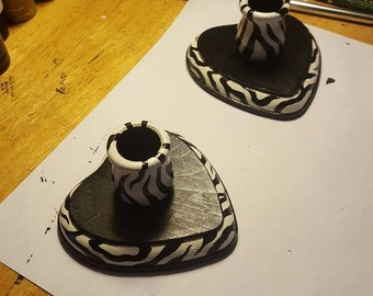 Zebra print wooden heart candle holders
