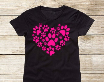 Girls Puppy Paw Heart T-Shirt, Black with Neon Pink Dog Paw Prints