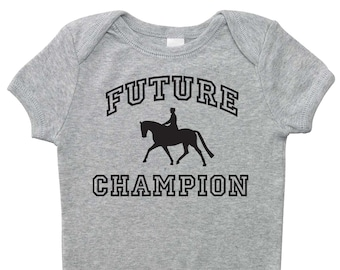 Future Dressage Champion One Piece Bodysuit - Gray, Pink, or Blue