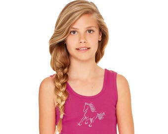 Horse Bling Tank for Girls - Berry Pink Baby Rib Tank Top with Rhinestone Horse - Equestrian Clothing Horse and Pony Shirt for Kids