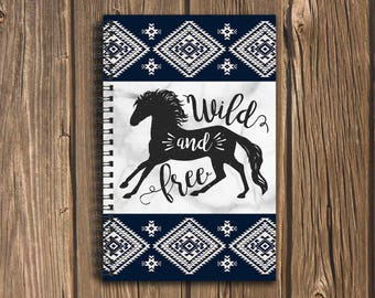 Wild and Free Horse Bullet Journal: An Equestrian's Diary or Note Book with 100 Pages of Graph Paper