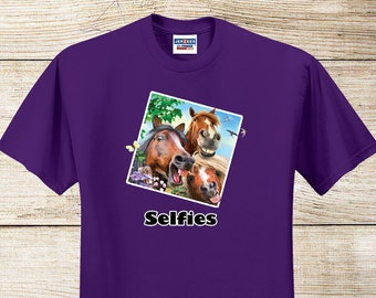 "Cute Kids Horse T-Shirt - ""Selfies"" - Full Color Pony T-Shirt, Purple Unisex Youth"