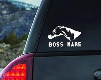 Boss Mare Vinyl Decal - Equestrian Horse Gift for cars, trucks, trailers, mugs, laptops, notebooks - bumper sticker