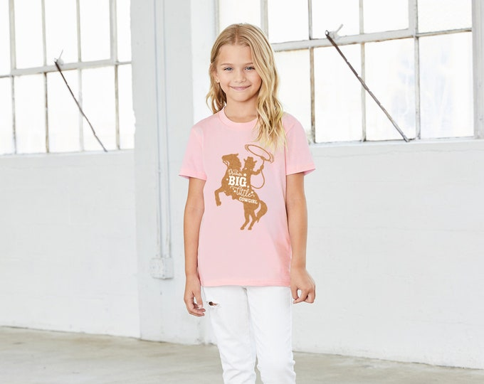Featured listing image: Dream Big Little Cowgirl - Western T-Shirt for Youth and Toddler Girls with Rose Gold Shimmer - Equestrian Horse Shirt - 2T through 14/16