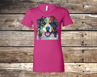 Neon Australian Shepherd Fitted T-Shirt, Berry Pink