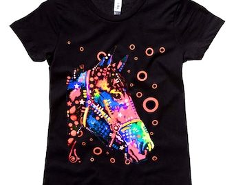 Neon Horse Girls Black Tee Artistic Style, Equestrian Clothing, Horse T-Shirt, Riding Clothes, Youth, Teen, Short Sleeve Shirt