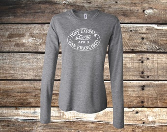 Pony Express Long Sleeve Equestrian Tee, Deep Heather Gray