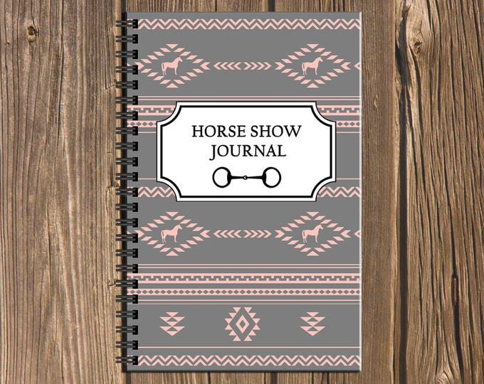 Featured listing image: Horse Show Journal: Track your competition results and more in this Southwestern geometric pattern spiral equestrian notebook