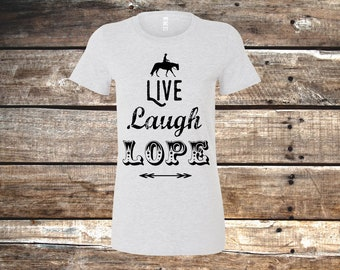 Live Laugh Lope Relaxed Fit Western T-Shirt, Beige or Heather Purple