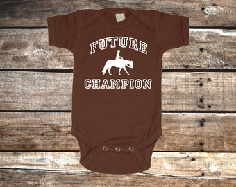 Future Western Champion Baby Horse Bodysuit for Infant Boys, Girls, and Surprises - Baby Shower Gift - Equestrian Clothing