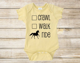 Crawl, Walk, Ride One Piece Bodysuit for Baby Boys, Girls, and Surprises - Multiple Colors