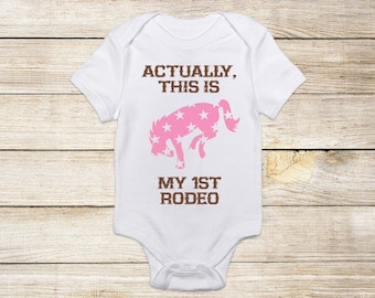 My First Rodeo One Piece Bodysuit, Baby Girl Horse Onesie, Equestrian Clothes Western Country Newborn Gift Riding Pony Bronco Pink Stars