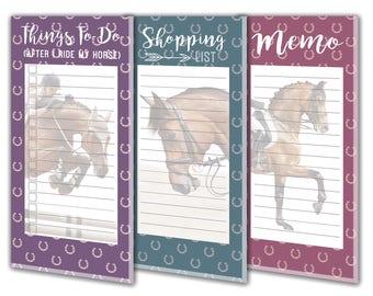 Equestrian Magnetic Refrigerator Note Pads 3 Pack