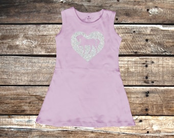 Sparkle Heart with Pony - 100% Cotton Sleeveless Toddler Dress - Lilac Purple