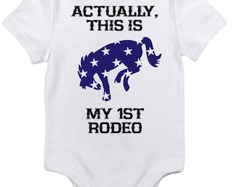 My First Rodeo One Piece Bodysuit, Baby Boy Horse Onesie, , Equestrian Clothes Western Country Newborn Gift Riding Pony Bronco Blue Stars