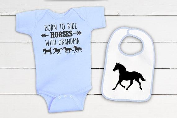 Ride Baby Horse Onesie for Infant Boys /& Girls Equestrian Creations Crawl Walk