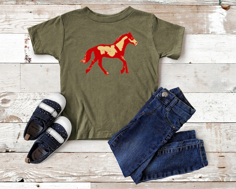 Abstract Horse T-Shirt for Toddler and Kids Boy Equestrian Horseback Riding Western Pinto Paint Mustang Wild Red Blue New Rider Cowboy Rodeo