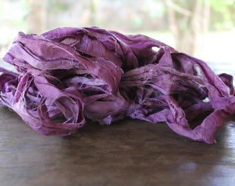 Assorted fiber Fall Hues tropical art yarn bundle 8x2 16yds ribbons threads novelty yarns pack journal ribbon recycled sari ribbon Green