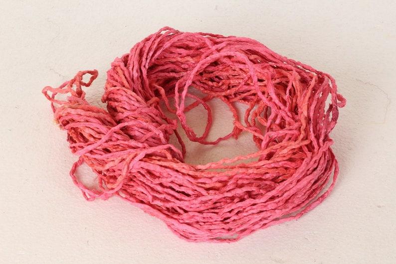 Recycled Sari silk ribbon BOHO Cord Pink Cord 250 Recycled Silk Cord Crafting Twine Sari Ribbon Cord Crafters Cord