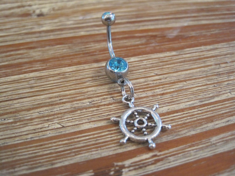 Blue Gem Stone Belly Button Ring Ships Wheel with Double Lt Body Jewelry Belly Button Ring