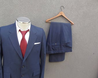 Vintage Mens Suit   Two Piece Suit   Wedding   Size 38 Regular   Medium Med  M   Blue Suit   Made in Canada   Men in Blue 60d6c63f4f9
