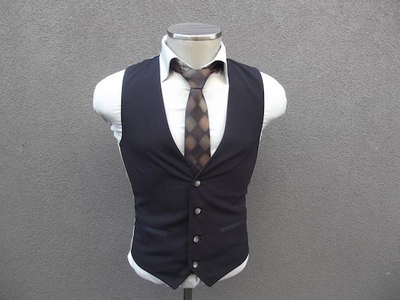 Vintage Givenchy Navy Vest / Wedding / Groom Vest