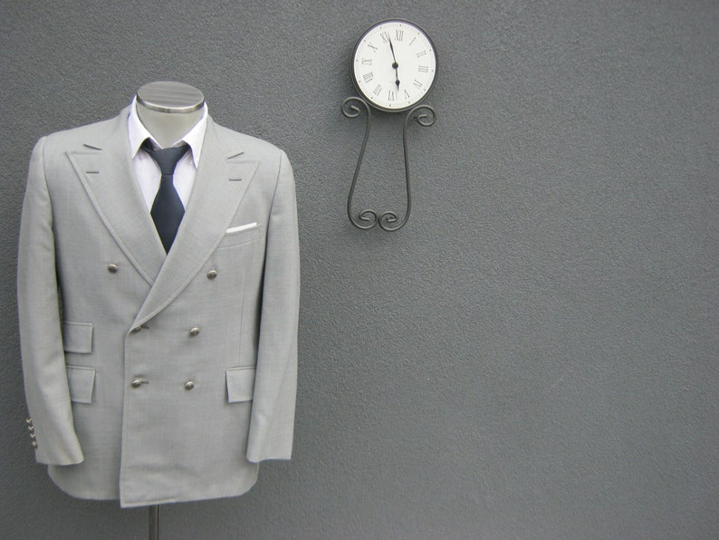 1950s Rogue by Hyde Park Ivy League Gray Double-Breasted Blazer  Vintage Wedding Classic Suit Jacket Size 40 Medium  Mad Men  Union Made