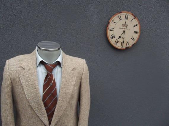 1980s Vintage Tweed Jacket / Herringbone Tweed Bla