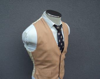 1970s Vintage Tan Vest / Tan Waistcoat Size 40 Medium Med M / Mens Suit Vest / 70s Vintage Waistcoat Vtg / Wedding