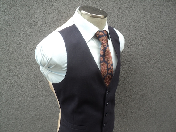 Vintage Navy Blue Vest / Navy Waist Coat / Wool Wa