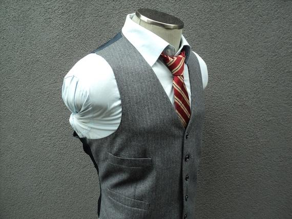 1980s Striped Vest / Mens Waistcoat / Mens Waist C
