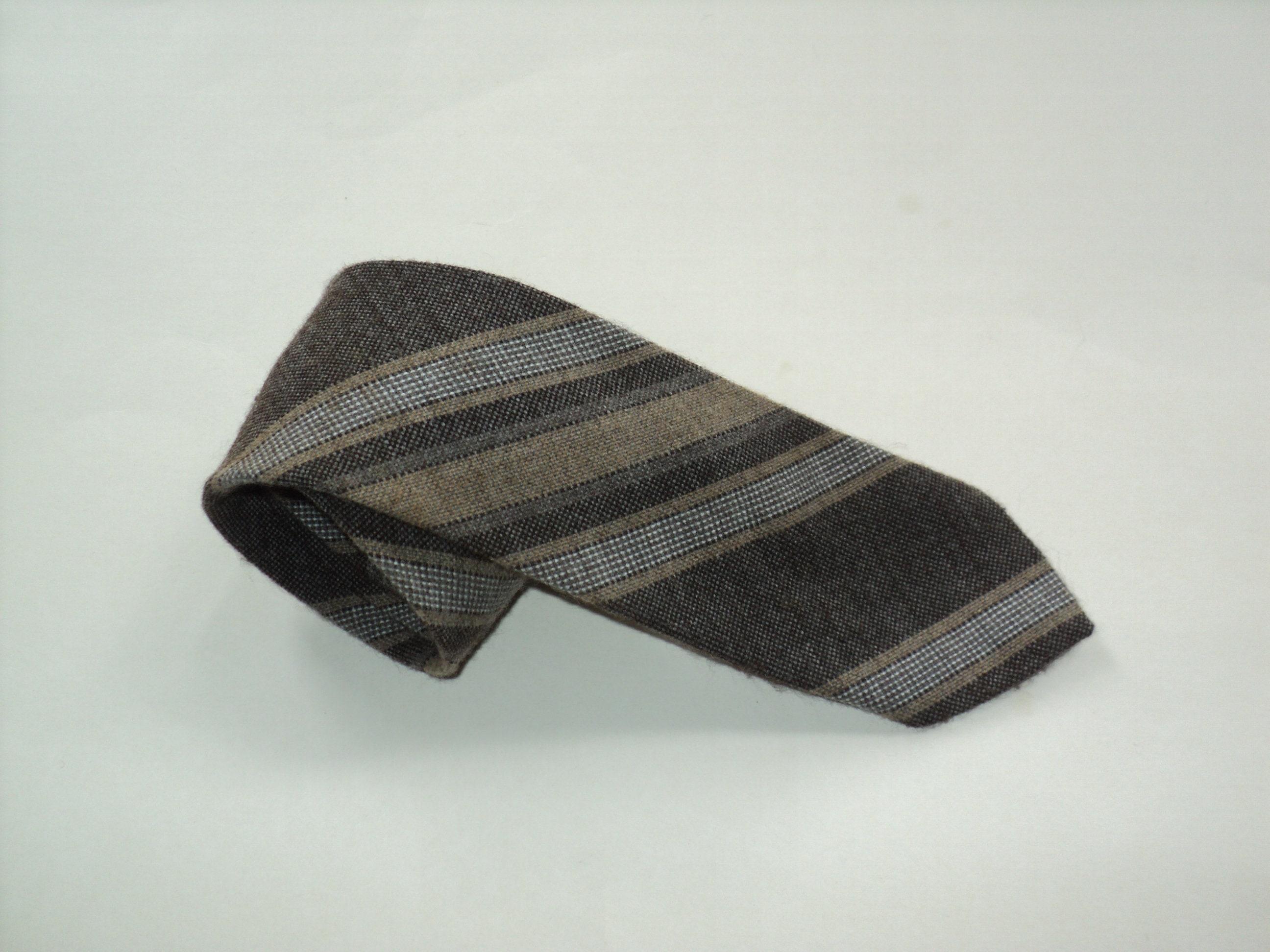 42b00be0c28f6 Emilio Lanzetti Homme Marron à Rayures 100% soie classique Classic Fit  Cravate Accessoires pour homme
