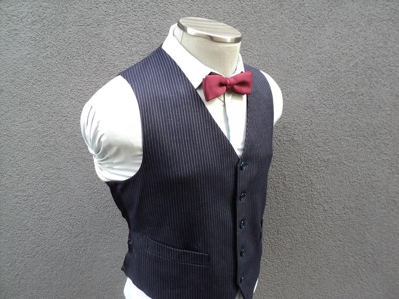 1970s Gray Pinstripe Vest  Wool Waistcoat Size 42 Large Lrg  Wedding  Mens Suit Vest  70s Vintage Waistcoat Vtg Pinstripe Waistcoat