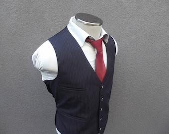 1950s Navy Blue Wool Vest / Vintage Navy Pinstripe Waistcoat Size 46 XL / Extra Large / Vintage Wedding / Mens Suit Vest / 50s Vtg / Mad Men