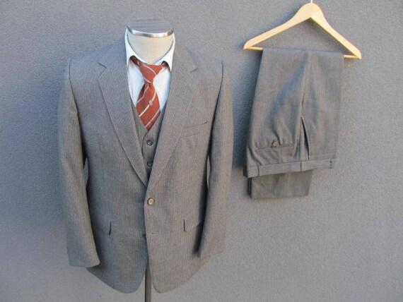f0a77e4780fe4e 1960s Pinstripe Three Piece Wool Suit Jacket Vest Pants / 60s | Etsy