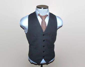 1980s Mens Vest Size 38 Medium Med M / Wool Waistcoat / Wedding / Mens Suit Vest / 80s Vintage Wool Waist Coat / Mens Vest / Wool Vest Vtg