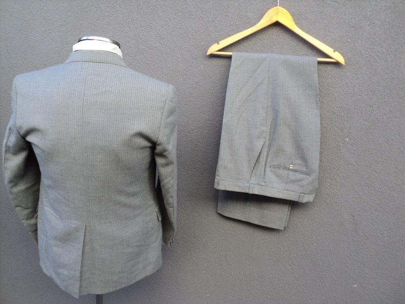 1960s Pinstripe Suit  Three Piece Suit  Jacket Vest /& Pants  60s Vintage Striped 3 Piece Suit 36 Small  Union Made In Canada  Gray Suit