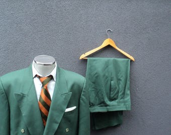 Vintage Two Piece Double Breasted Suit / Men Suit Size 44 Large Lrg / 2 Piece Double-Breasted Green Suit / St Patricks Day / Made in Canada