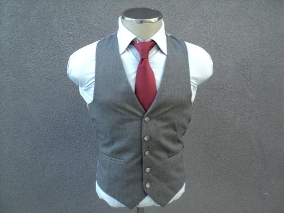 1980s Mens Vest, Pinstripe Waistcoat, Striped Gray